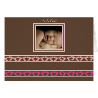 Baby Girl Annoucement Cute Baby Feet your Photo - Card