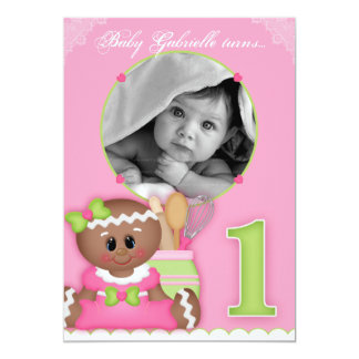 "Baby Girl Announcement 1st Birthday Gingerbread 5"" X 7"" Invitation Card"