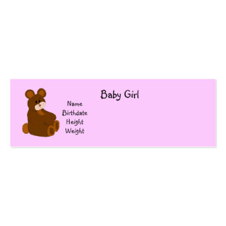 Baby Girl Announcement Double-Sided Mini Business Cards (Pack Of 20)