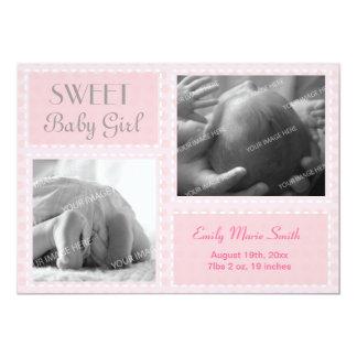 "Baby Girl Announcement 5"" X 7"" Invitation Card"