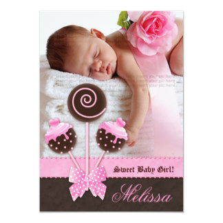 Baby Girl Announcement Invite Cake Pops Pink V