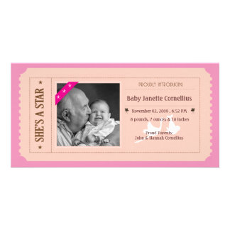 Baby Girl Announcement - Movie Ticket Style Photo Card