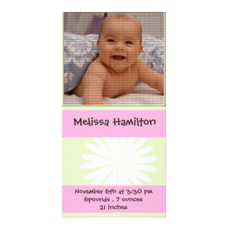 baby girl announcement photo card