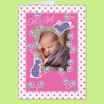 Baby Girl Announcement Photo Card Cute Bunnies