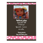baby girl announcement  photo card postcards