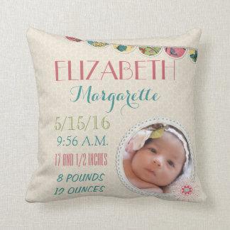Baby Girl Announcement Photo Throw Pillows