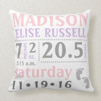 Baby Girl Announcement Pillow, pink, purple, grey Throw Pillow
