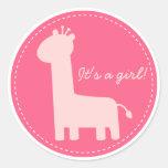 Baby Girl Announcement - Pink giraffe silhouette Classic Round Sticker