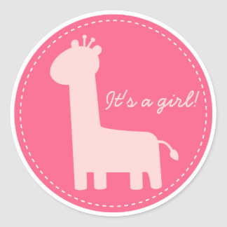 Baby Girl Announcement - Pink giraffe silhouette Round Stickers