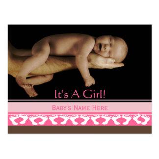Baby Girl Announcement Postcard