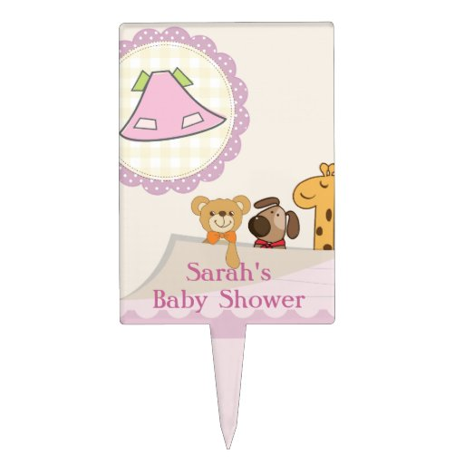 baby girl baby animals baby shower cake topper zazzle