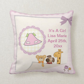 Baby Girl Baby Animals Baby Shower Throw Pillow