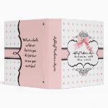 Baby Girl Baby Book Binder - French Bow  Dot Swirl