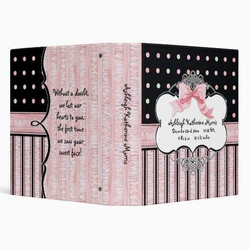 Baby Girl Baby Book Binder - French Bow  Dot vs3