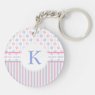 Baby Girl Baby Boy Equal Joy Gender Reveal Party Keychain