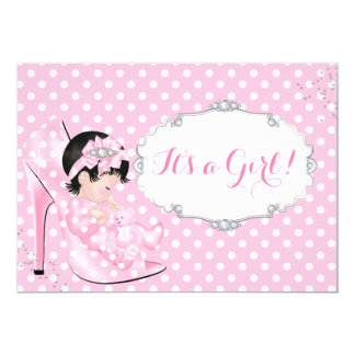 Baby Girl Baby Shower Pink Polka Dots Shoe D 5x7 Paper Invitation Card