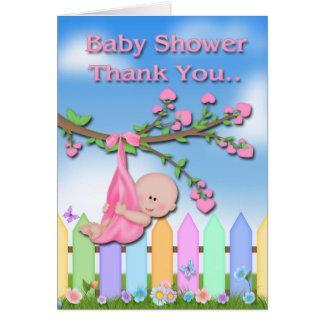 Baby Girl - Backyard Baby Shower Thank You card