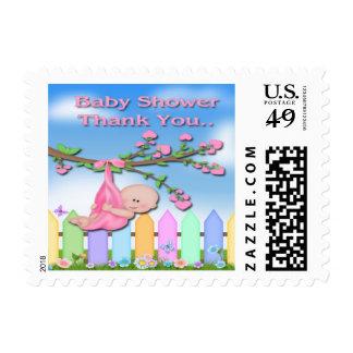 Baby Girl - Backyard Baby Shower Thank You Postage