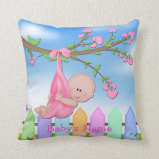 Baby Girl - Backyard Throw Pillow
