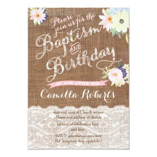baby girl Baptism and Birthday invitations