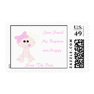 Baby Girl Baptism Save The Date Postage Stamp Temp