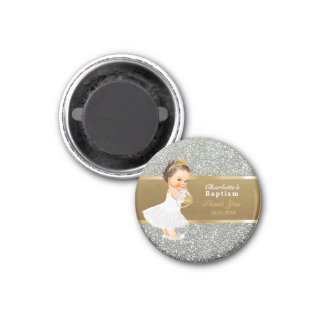 Baby Girl Baptism Thank You Keepsake | Gold Silver Magnet