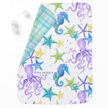 Beach Themed Baby GIRL Beach Sea Octopus Seahorse Nursery Art Stroller Blanket