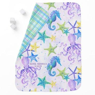 Beach Themed Baby GIRL Beach Sea Octopus Seahorse Nursery Art Swaddle Blanket