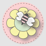 Baby Girl Bee in Pink Round Stickers