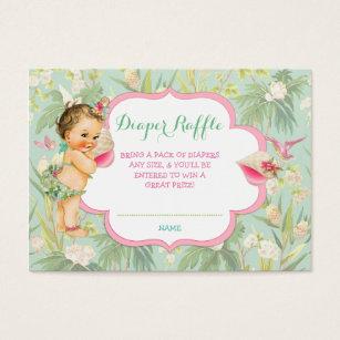 Luau business cards templates zazzle baby girl bikini tropical luau hawaiian shell business card yadclub Gallery