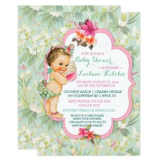 Baby Girl Bikini Tropical Luau Hawaiian Shell Card