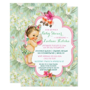 Toddler & Baby themed Baby Girl Bikini Tropical Luau Hawaiian Shell Card