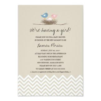 Baby Girl Bird's Nest Baby Shower Card