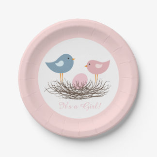 Baby Girl Bird's Nest   Baby Shower Paper Plate