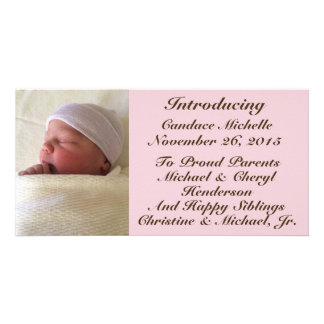Baby Girl Birth Announcement Brown Font on Pink