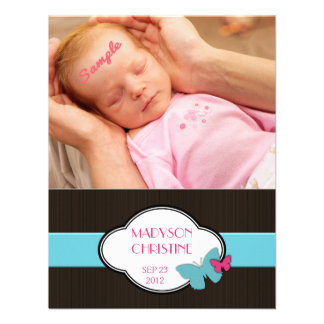 Baby Girl Birth Announcement Brown Pink  Blue