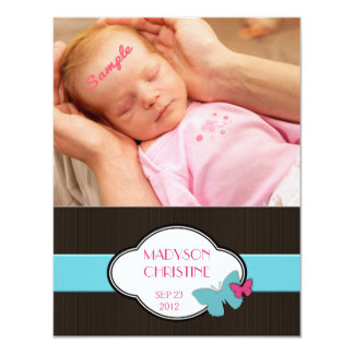 """Baby Girl Birth Announcement Brown Pink  Blue 4.25"""" X 5.5"""" Invitation Card"""