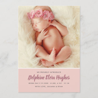 Baby Girl Birth Announcement Card | Multi-Photo