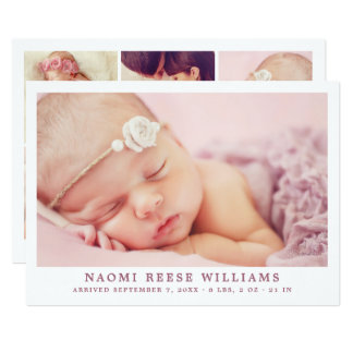 Baby Girl Birth Announcement Card | Photo Collage