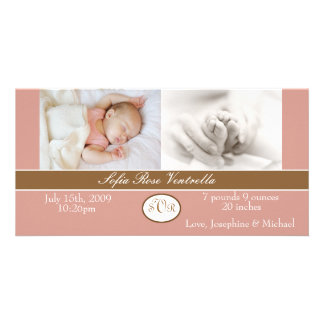 Baby Girl Birth Announcement Customized Photo Card