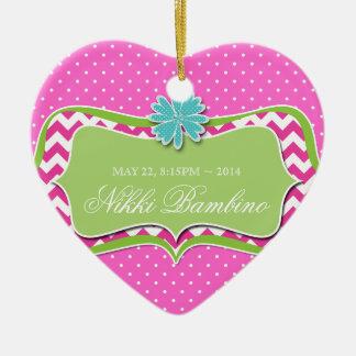 Baby Girl Birth Announcement First Birthday Dots 2 Ceramic Ornament