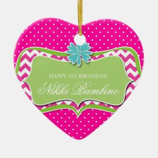 Baby Girl Birth Announcement First Birthday Dots Ceramic Ornament