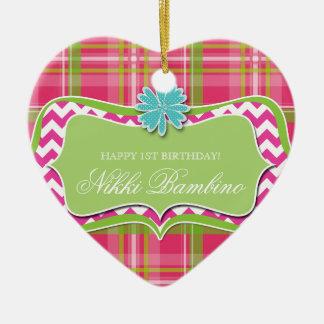 Baby Girl Birth Announcement First Birthday Plaid Ceramic Ornament