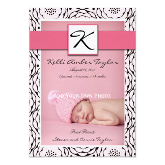Baby Girl Birth Announcement Floral Pink