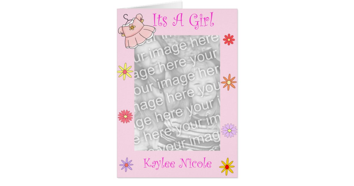 Baby girl birth announcement greeting card m4hsunfo