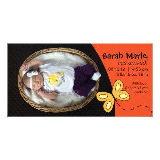 Baby Girl Birth Announcement in Orange