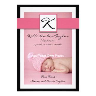 Baby Girl Birth Announcement Monogram Pink