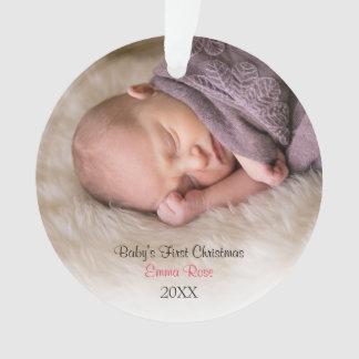 Baby Girl Birth Announcement Photo Circle Ornament
