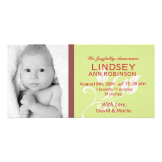 Baby Girl Birth Announcement Photocard