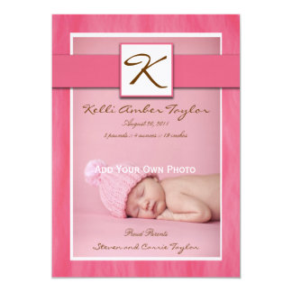 Baby Girl Birth Announcement Pink and Brown